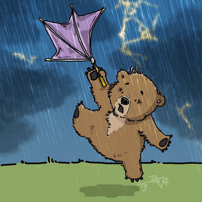 Photoshop, digital, kreativ, Zeichnung, Bär, Tier, Sturm, Wind, Regen, Regenschirm, Blitz, Donner, Wolken, fliegen, Achtung, schlecht, stürmisch
