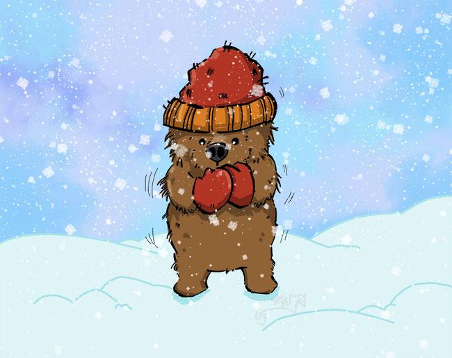 Photoshop, digital, Bär, Tier, Winter, Schnee, kalt, frieren, Mütze, Handschuhe, Wetter, Zeichnung, kreativ, Schneeflocken