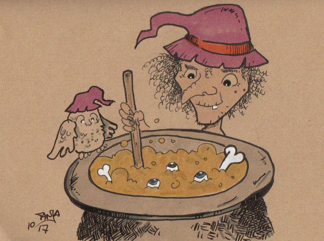 Zeichnung für die 365-Tage-Doodle-Challenge zum Thema: Hexe