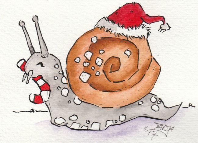 """Zeichnung zum Thema """"Zimtschnecke"""" für die 365-Tage-Doodle-Challenge."""