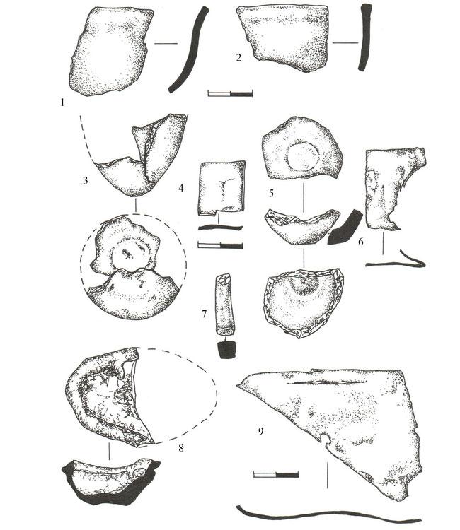 Мал. 4.  Фрагменти тиглів та бронзової обрізі, знайдених на території Кам'янської Січі
