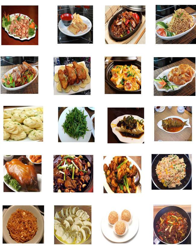 Chinesische Menüs im Chinarestaurant Venus