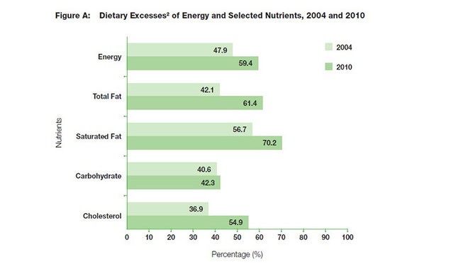 Graph illustrating the National Nutrition Survey (NNS) data showing dietary excesses of energy and selected nutrients among the adult population between 2004 and 2010(41) .