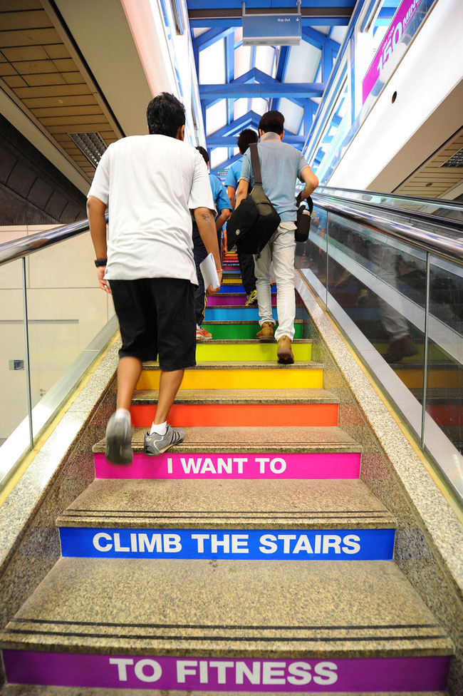 An example of a visual cue to 'nudge' Singaporeans to use the stairs.