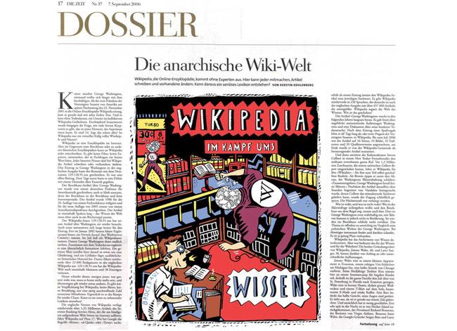 """Für das Dossier der Wochenzeitung """"Die Zeit"""" zeichnete der Berliner Illustrator Niels Schröder diese Illustration zum Thema des Wettbewerbs der Lexika-Verlage mit Wikipedia. © Niels-Schroeder"""
