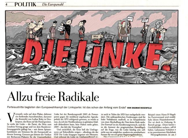 """Für die Wochenzeitung """"Die Zeit"""" schuf der Illustrator Niels Schröder diese Zeichnung: Zu sehen ist die Parteiführung der Partei """"Die Linke""""."""