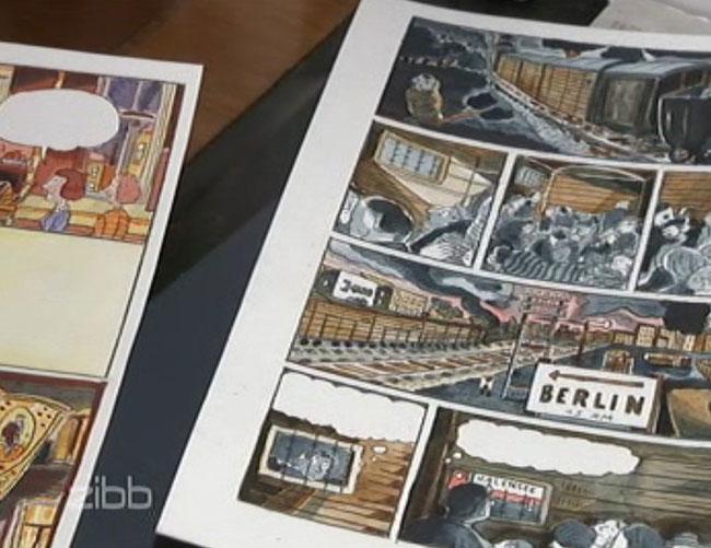 In seinem Bericht zeigt das Magazin zibb des RBB Seiten aus der Graphic-Novel. Hier sieht man die Deportation von Coco Schumann von Theresienstadt nach Auschwitz-Birkenau im Jahr 1944.