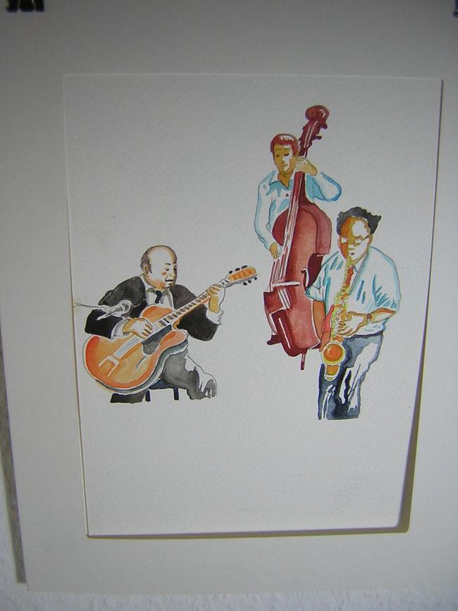 """Coco-Schumann und seine Band. Aquarell aus der Graphic Novel """"I got Rhythm"""" von Caroline Gille und Niels Schröder. © niels-schroeder"""