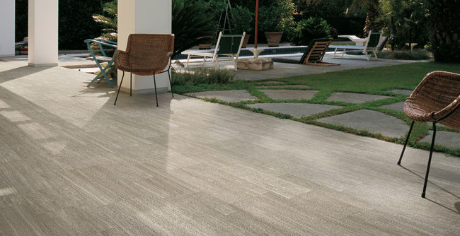 Gray porcelain tile patio