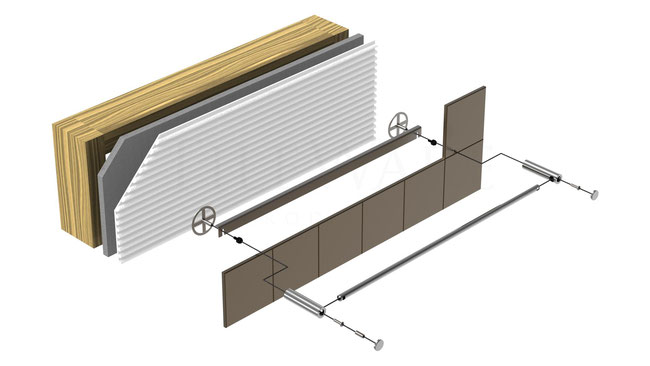 Illustration of the installation layers: towel bar, hardware, tile, mounting plate, thinset, wallboard, and wall studs.
