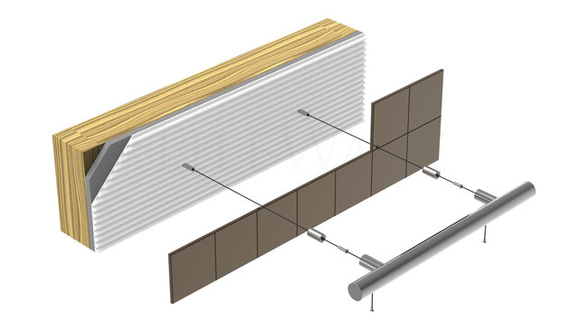 Illustration of the installation layers: grab bar, hardware, tile, thinset, wallboard, and wall studs.