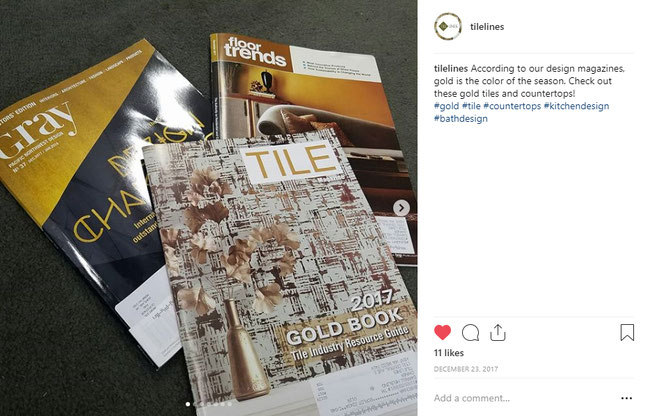 Screenshot of Instagram post of Gray Magazine, Tile Magazine, and Floor Trends Magazine.