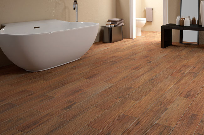 Walnut wood-looking tiles in a contemporary bathroom