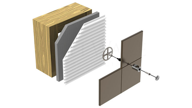 Illustration of the installation layers: hook, hardware, tile, mounting plate, thinset, wallboard, and wall studs.