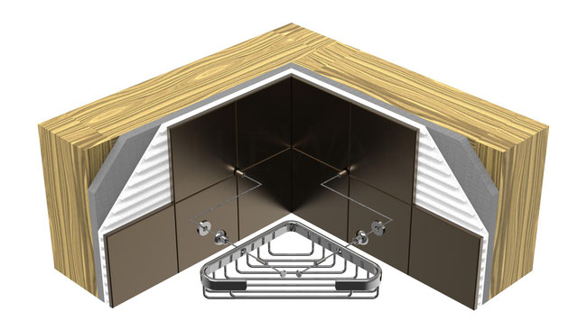 Illustration of the installation steps after the tile is installed with basket and hardware