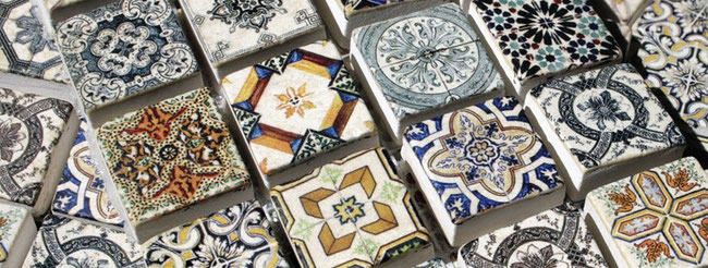 Tiny mural mosaic tiles with colorful designs