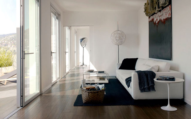 Sleek porcelain wood tile in a contemporary home