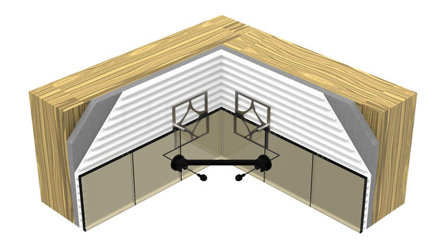 Illustration of the installation layers: mounting plate, thinset, wallboard, and wall studs.