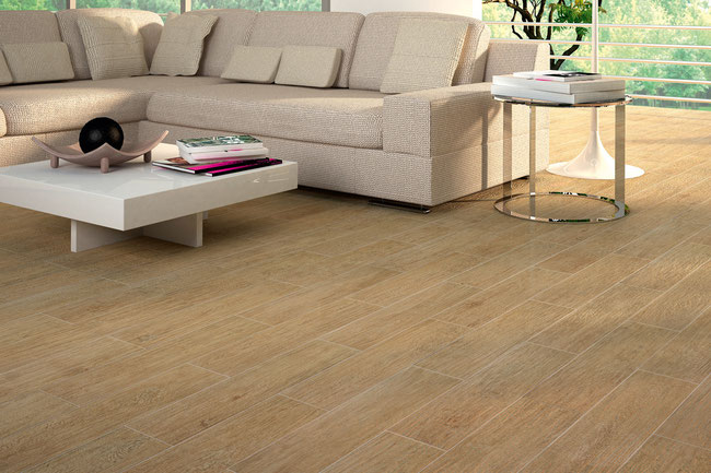 Light oak wood-looking porcelain tile floor