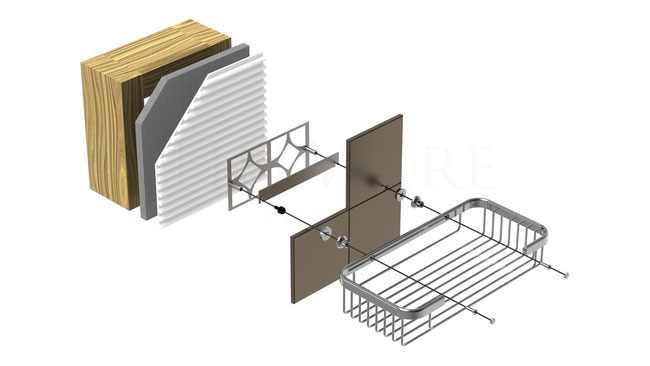 Illustration of the installation layers: basket, hardware, tile, mounting plate, thinset, wallboard, and wall studs.