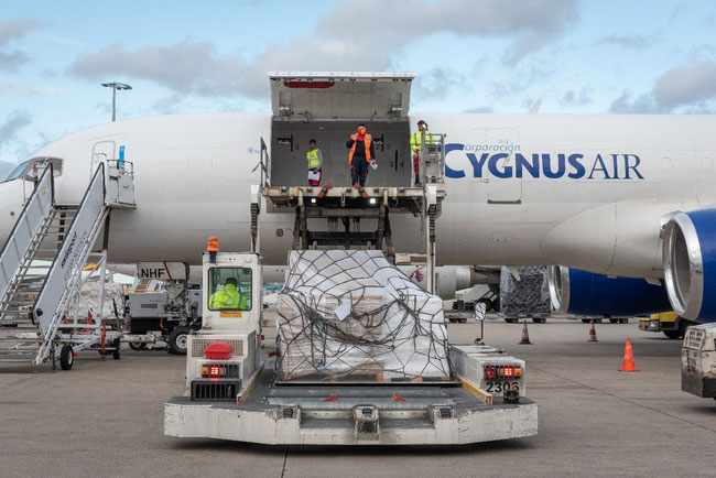 Loading the first of a series of WFP flights in Liège - Image courtesy of WFP