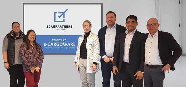 Mixed team of Scanpartners and e-CARGOWARE (from l to r): Merete Oxenboll Kuld, Eana Rasmussen, Sabina Tannebaek, Steen Keller, Ramesh Darbha, Jesper Esbensen - courtesy Scanpartners / e-CARGOWARE
