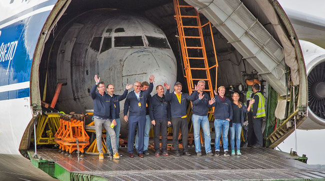 """The """"Landshut"""" has """"landed"""" in Germany, flown from Brazil on board a chartered Volga-Dnepr An-124  -  courtesy: Dornier Museum"""