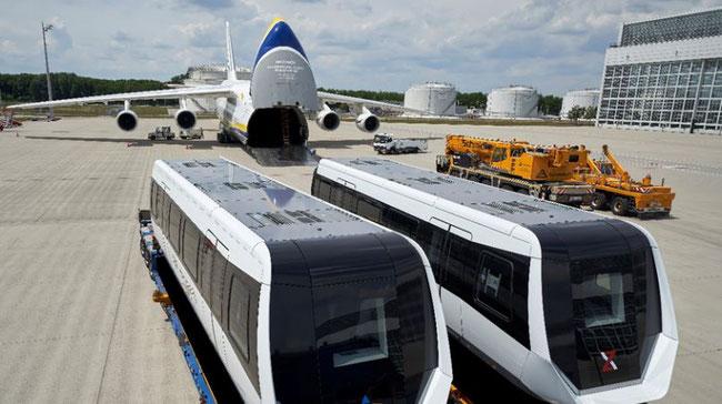 2 Max Bögl TSB maglev train sections wait to board their Chengdu, China flight in Munich, Germany.
