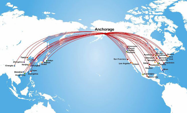 Anchorage is located at the crossroads between Far East and North America, making it ideal as hub for e-commerce traffic  -  chart: ANC