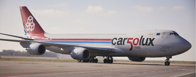 The LX-VCC 747-8F sporting the anniversary logo. Image courtesy of Cargolux