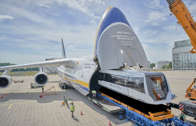 Open wide! Antonov Airlines uses inhouse loading technology to position the train sections. Images: Antonov Airlines