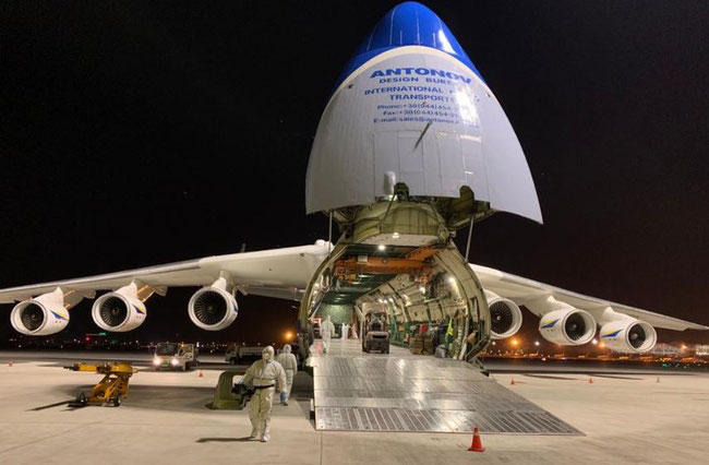AN-225 readies itself at Tianjin Airport (TSN) for loading around 100 tons of medical cargo  -  image courtesy of Antonov Airlines