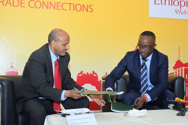 Signed the contract: Tewolde GebreMariam, CEO, Ethiopian Airlines Group (left) and Amadou Diallo, CEO, DHL-GF MEA  -  courtesy: DHL