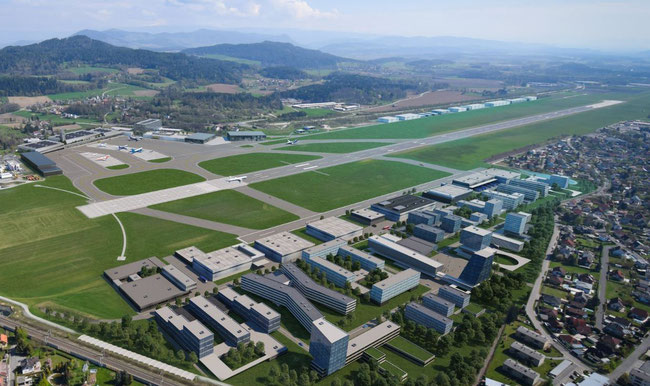 Image of Klagenfurt Airport, visualizing the different facilities facing costruction, provided the announced investments exceeding one bn euros are taking place  -  courtesy Lilihill Group