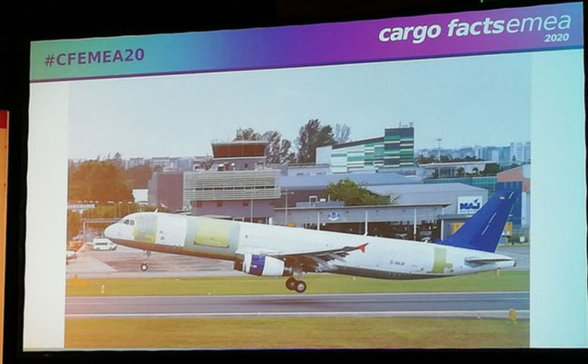 Slide from VP Sales & Marketing for Airbus freighter conversions, EFW, Wolfgang Schmid's A321PRF test-flight ppt at #CFEMEA20 on 05FEB20. Image: CFG - Gledhill
