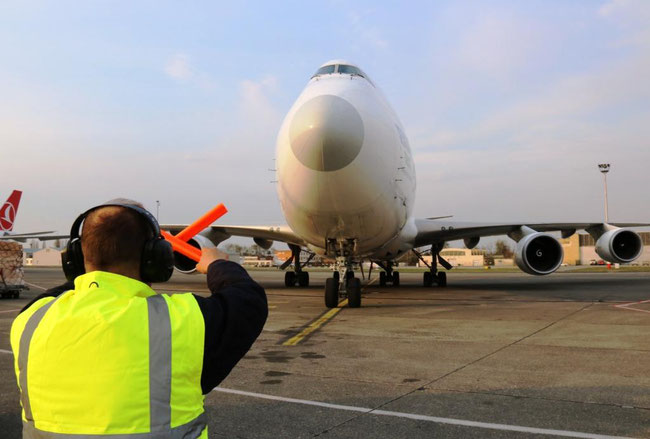 Cargolux B747 freighter arriving at BUD on route Zhengzhou-Budapest-Luxembourg  -  photo: BUD