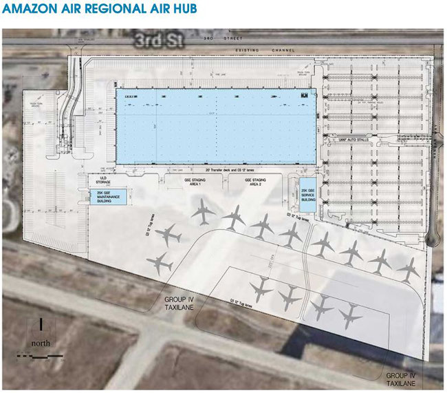Plans for Amazon Air regional San Bernardino hub. Image: dcvelocity.com