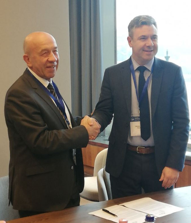 Vladimir Zubkov, Secretary General of TIACA, and Steven Small, Managing Director of Routes - Image: CFG Gledhill