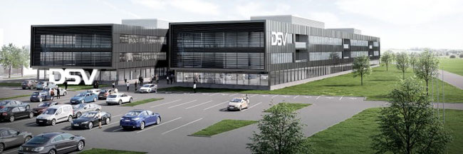 Artist impression of DSV's future logistics complex at Horsens, Denmark  -  company courtesy