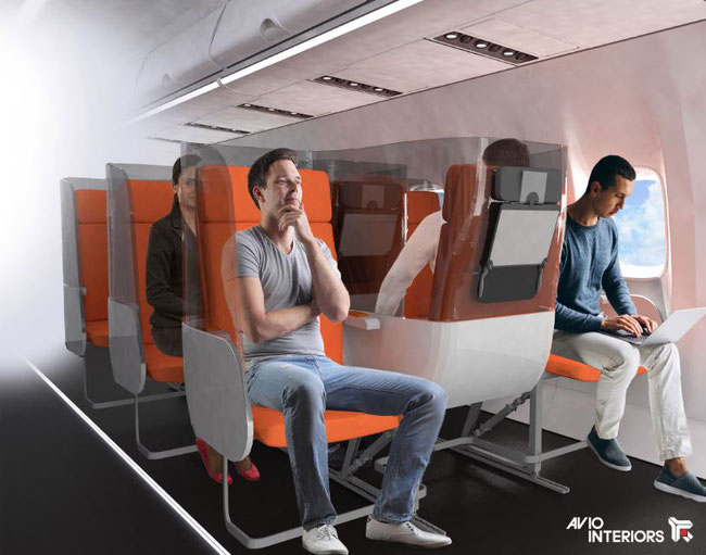No more elbow fights on the armrest of the Janus seat  -  Image courtesy of Aviointeriors