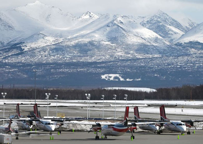 RavnAir aircraft parked up in Anchorage. Image: Bill Roth/AND