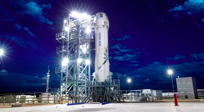 Blue Origin's New Shepard suborbital vehicle on the pad prior to an April 29 launch. Credit: Blue Origin