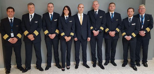 Lineup of 8 CLG crew members and their boss (l to r): Marcel Berkner  /  Josef Niederl  /  Bjoern Trenschel  /  Diana Kadir  /  CEO Johannes Jaehn  /  Stefan Lange  /  Marco Barthel  /  Kai Eckert  /  Henry Krueger