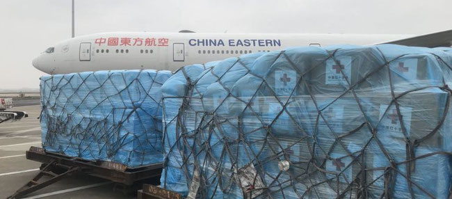 China flies 31 tons of aid to Rome, Italy, 13MAR20. Image courtesy Global Times