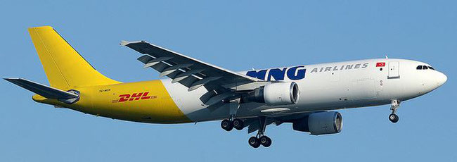 The logo of one of MNG's main customers is displayed on the hull of this A300-600F