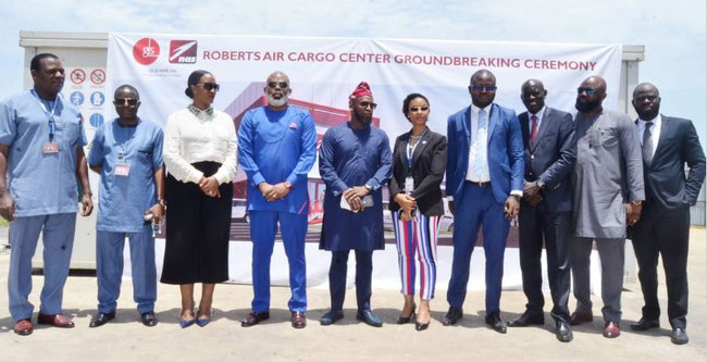 Group photo of GLS-NAS managers following the breaking ground ceremony at Roberts International Airport for building a new Cargo Terminal