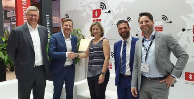 Pictured are (l to r): Marc Groenewegen, Unilode MD EMEA  /  Benoit Dumont, Unilode CEO  /  Diana Schoeneich, Deputy VP Europe ABC  /  Ivan Santoro, Regional Ops & Ground Handling Director Europe ABC  /  Tom Meyer, Unilode EMEA Director Sales