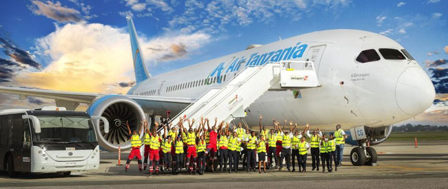 The Swissport employees in Tanzania obviously welcome the deal with Air Tanzania  -  courtesy Swissport