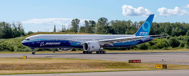 Second B777X / B779 test flight took place 29JAN20. Image courtesy of Boeing website