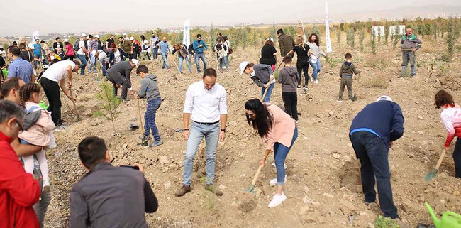 Men (and women) at work: SunExpress staff und family members plant the 'SunExpress Jubilee Forest' near Ankara  -  courtesy SXS